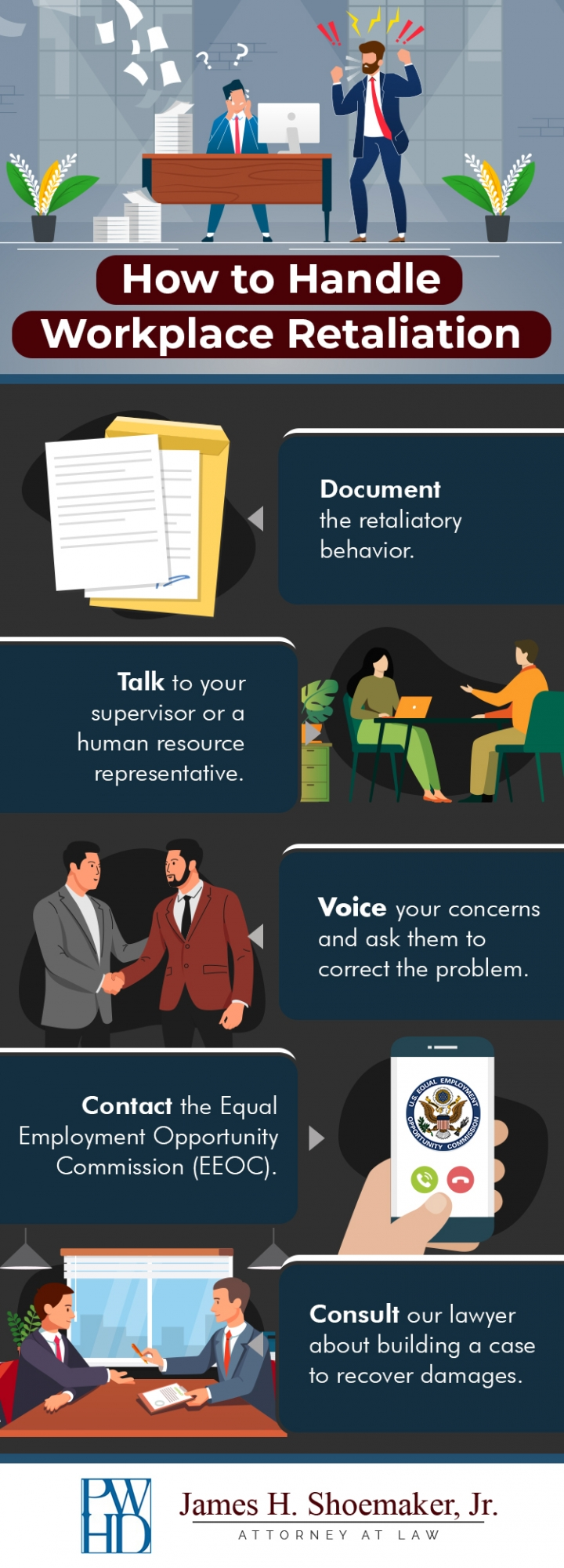 How to handle workplace retaliation infographic